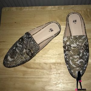 H & M Brocade Slides